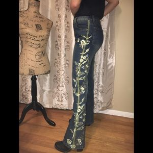 Denim - Azi jeans embroidered w green floral  design 33